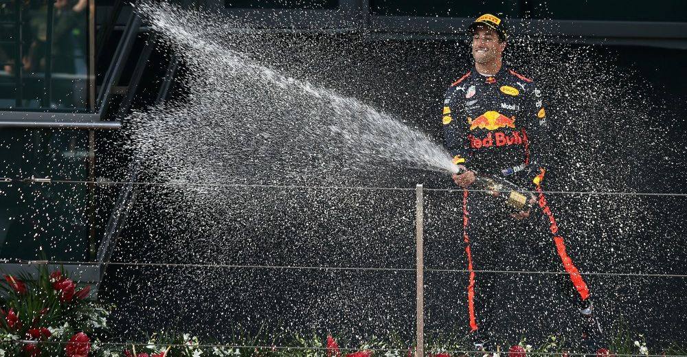 On the podium with Ricciardo - Picture from Red Bull Content Pool