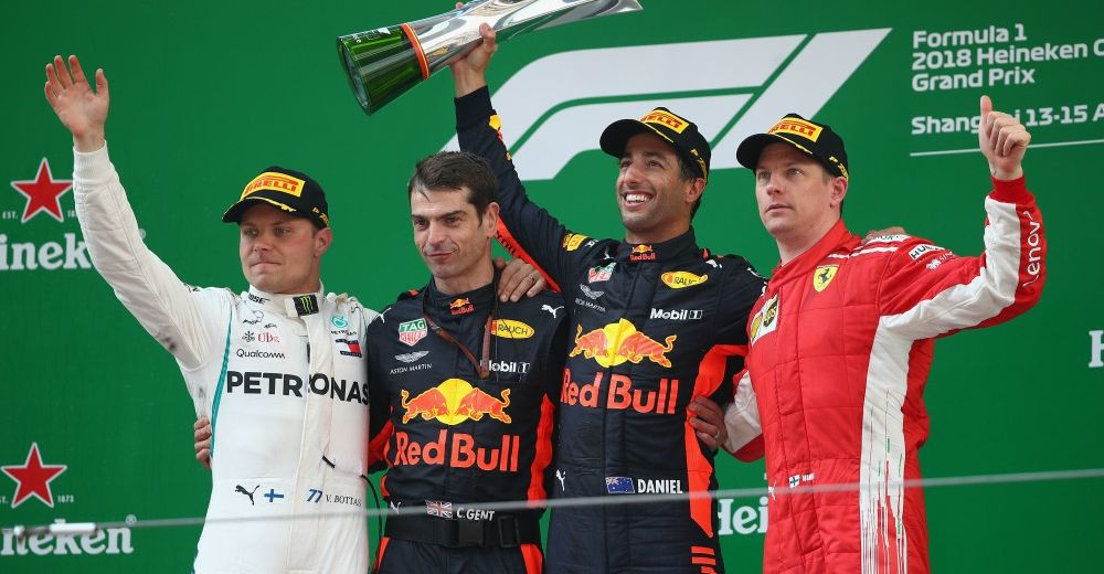 Bottas and Raikkonen join Daniel on the podium - Picture from Red Bull Content Pool