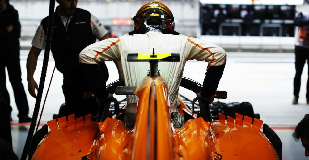 Alonso climbs into his McLaren - picture from McLaren Media