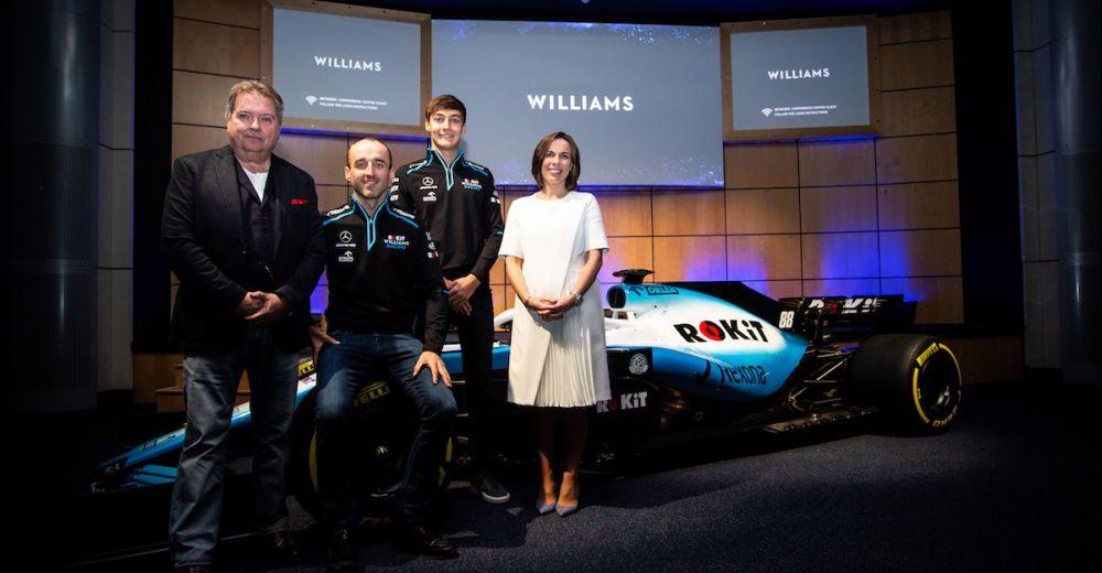 De Williams familie samen met de eigenaar van ROK, de nieuwe titelsponsor van het F1 team