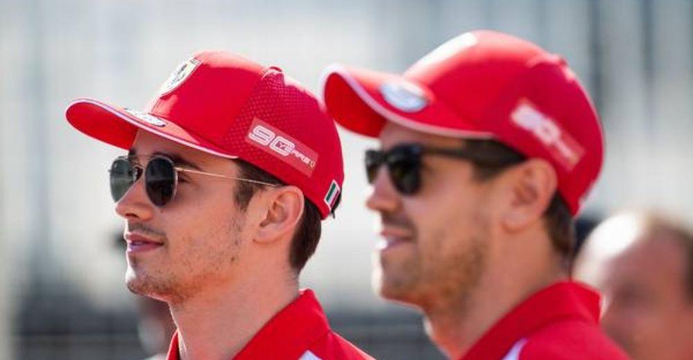 Vettel and Leclerc enjoying the sun.