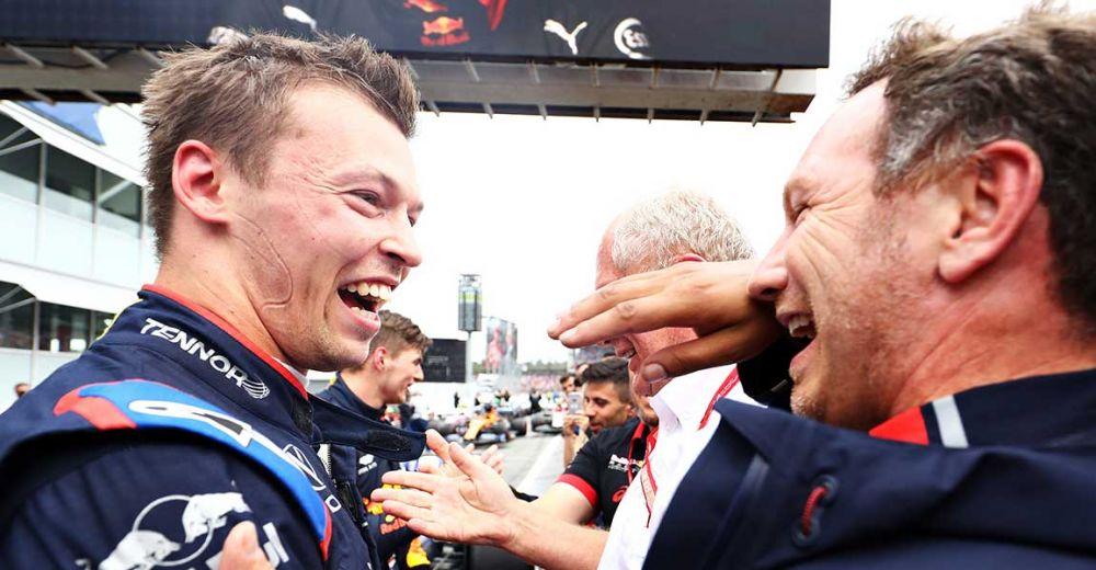 Horner feliciteert Kvyat met zijn podiumplaats!
