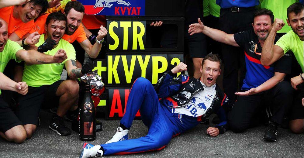 De ontlading op het gezicht van Kvyat is duidelijk te zien!