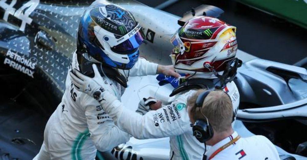 Hamilton congratulates Bottas on his first win since Baku!