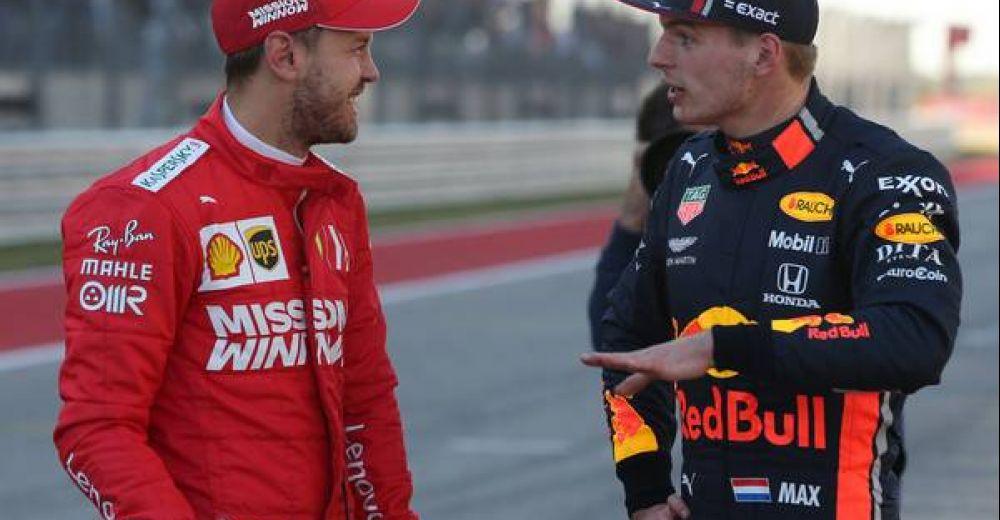 Vettel en Verstappen na de kwalificatie in Austin