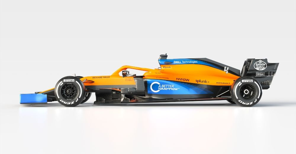 A side view of Lando Norris' the MCL35 (McLaren media centre)