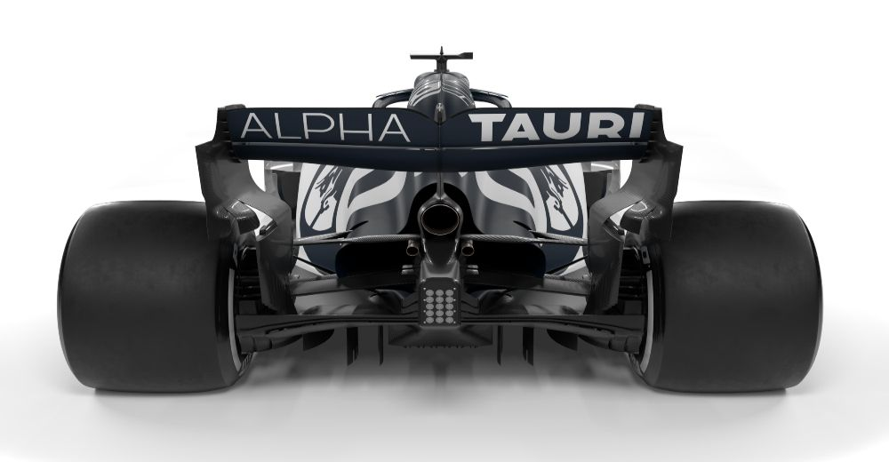 The rear wing of the Alpha Tauri