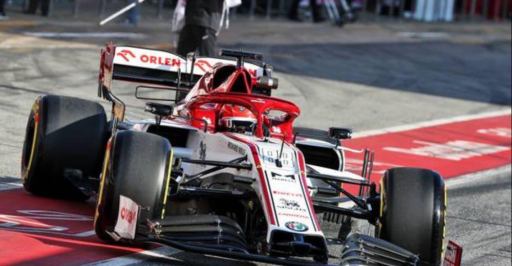 Alfa Romeo test driver Robert Kubica gets the first run in the Alfa Romeo