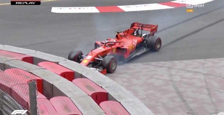Vettel bijna met zijn neus vol in de muur tijdens VT2 Monaco