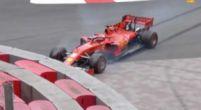 Afbeelding: Vettel bijna met zijn neus vol in de muur tijdens VT2 Monaco