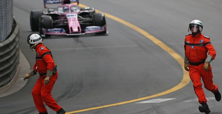 Sergio Perez, marshals in lucky escape during Monaco GP