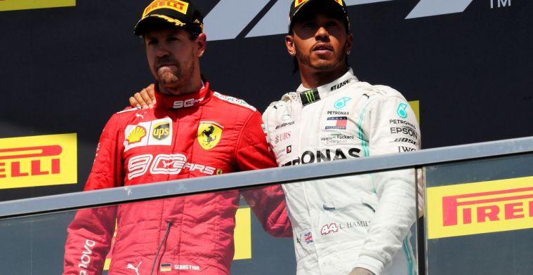 Volgens Hamilton moet Mercedes aan de bak om Ferrari voor te blijven