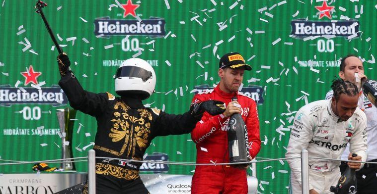 Vettel niet blij met weer zo'n flut-bokaal van Heineken