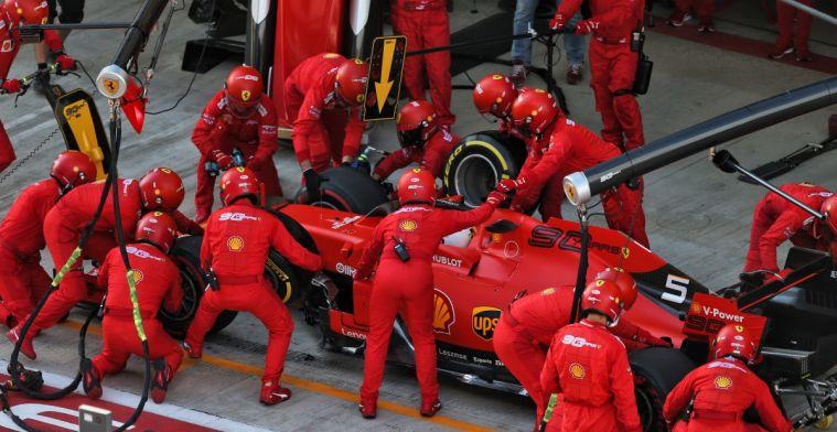 Statistiek die de terugval van Ferrari tijdens races van 2019 laat zien