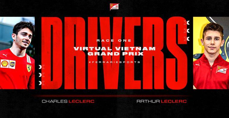 Broertje van Charles Leclerc doet zondag mee aan virtuele Grand Prix