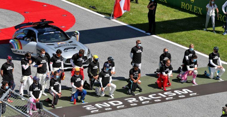 Dit weekend antiracisme protest voorafgaand de start van Britse Grand Prix