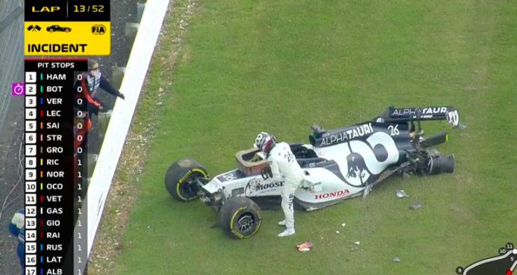 Kvyat crashes hard during GP at Silverstone