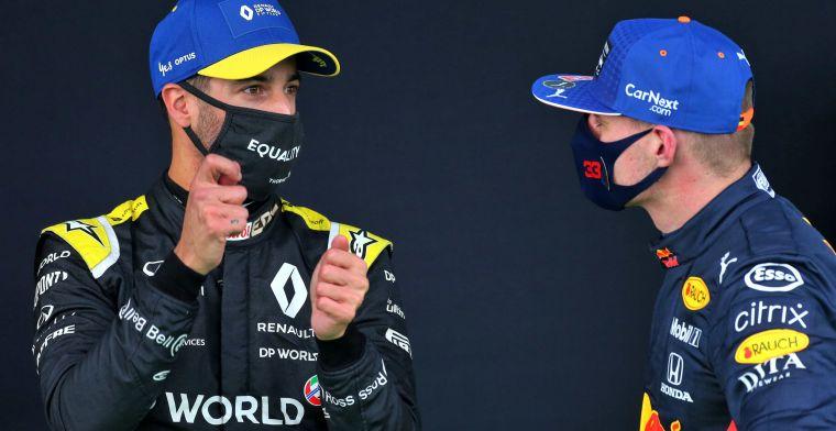 Verstappen en Ricciardo praten na over race: 'Ik wil vandaag geen protest'