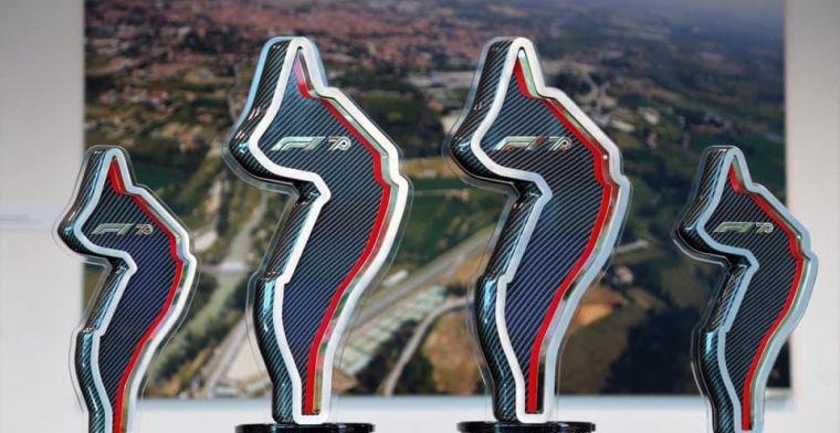 Tribute to Ayrton Senna on trophies at Emilia Romagna GP
