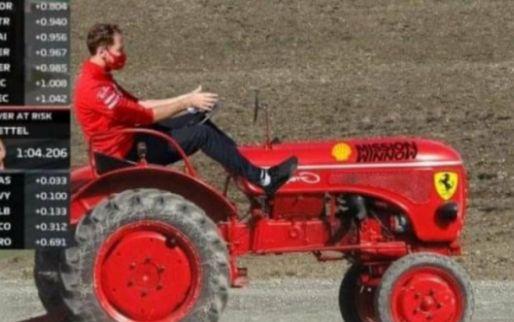 Internet reageert: Vettel op een Ferrari-trekker; Hamilton gevraagd te stoppen