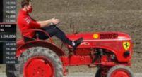 Afbeelding: Internet reageert: Vettel op een Ferrari-trekker; Hamilton gevraagd te stoppen