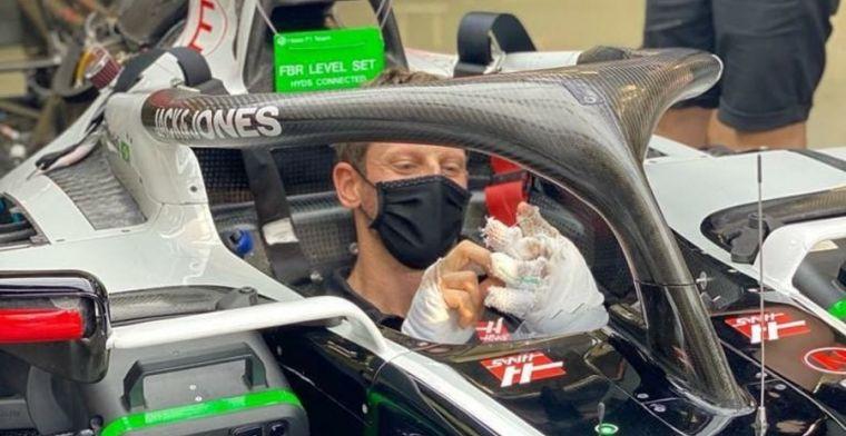 Mondkapje kan grijns Grosjean niet verhullen als hij weer in de Haas stapt
