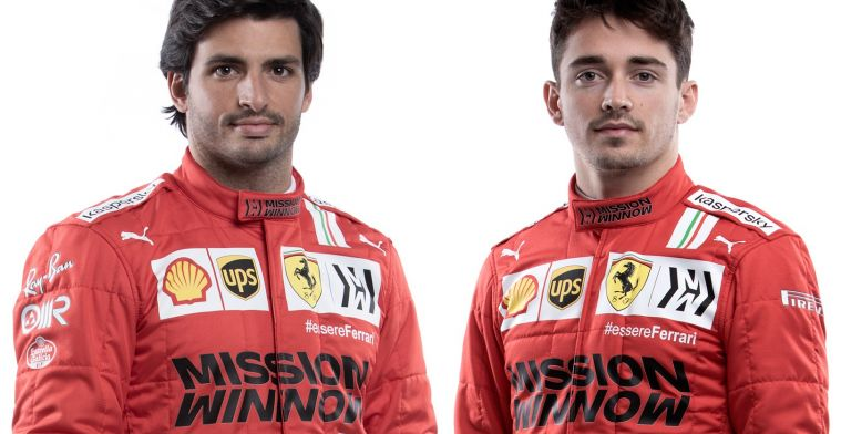 The new helmets and overalls of Leclerc and Sainz at Ferrari