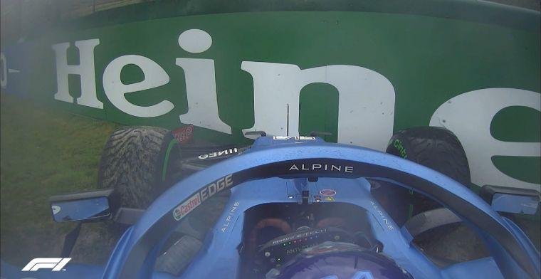 Alonso schiet naast de baan in opwarmronde, barre omstandigheden in Imola!