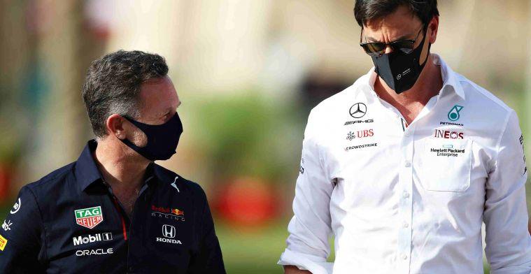 Wolff draait bij: Mercedes op zondag meer in voordeel dan Red Bull'