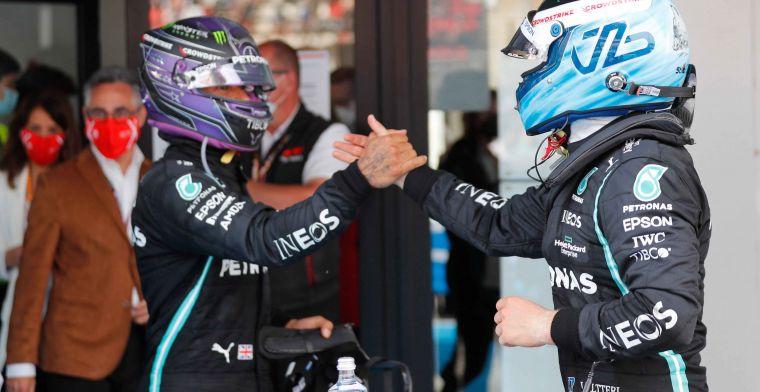 Hamilton kwam niet makkelijk langs Bottas: 'Dacht dat we aan het racen waren'