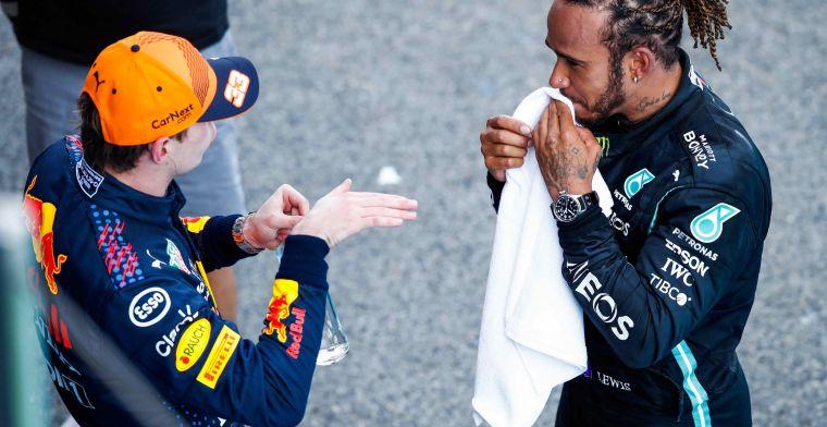 Verstappen achter Hamilton én Leclerc: 'Hij maakt die bochten niet zo kort'