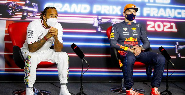 Hamilton kon Verstappen nooit tegenhouden: 'Max was toen ook niet super agressief'