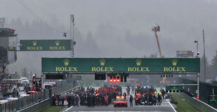 Start van de Grand Prix van België uitgesteld, veel regenval in Spa!