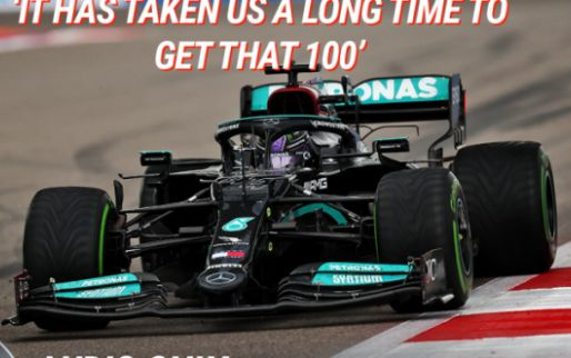 Hamilton on team radio: 'Took us a long time to get that 100'