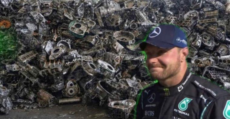 Bottas lijkt er klaar mee en post 'foto met zijn kapotte motoren'